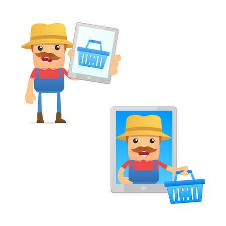 mobil: set of funny cartoon farmer