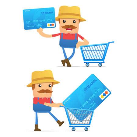 salary man: set of funny cartoon farmer