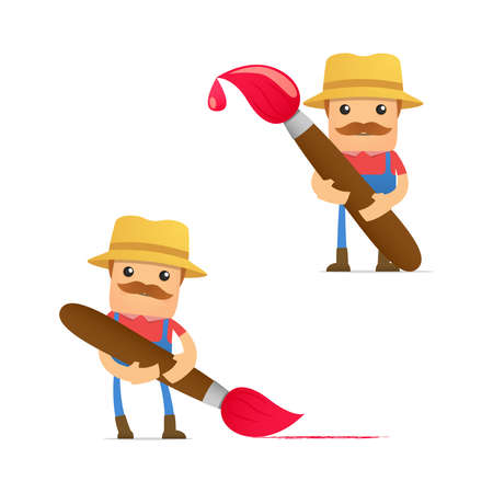 set of funny cartoon farmer Stock Vector - 11807952