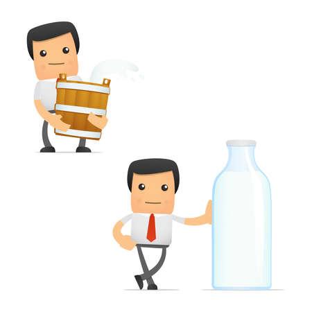organic fluid: set of funny cartoon manager