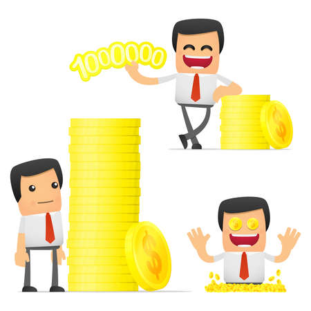 style wealth: set of funny cartoon manager