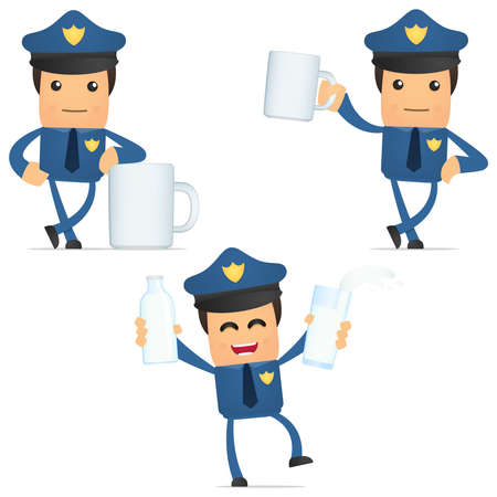 set of funny cartoon policeman Stock Vector - 11864783