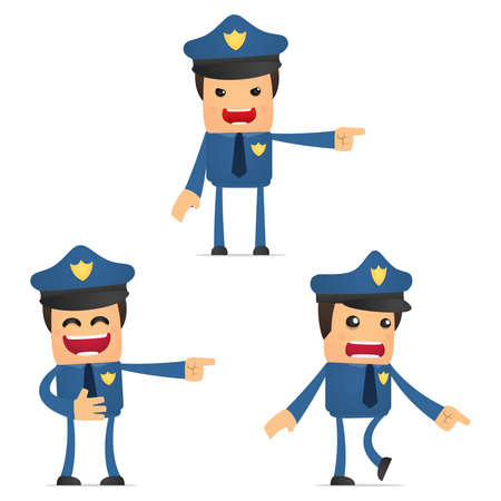 set of funny cartoon policeman Vector