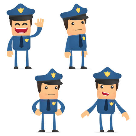 set of funny cartoon policeman Stock Vector - 11864754