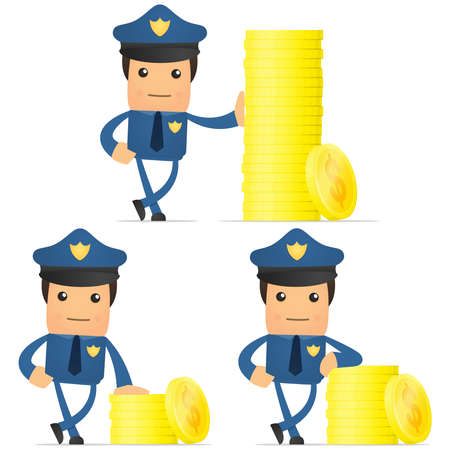 set of funny cartoon policeman Stock Vector - 11864844