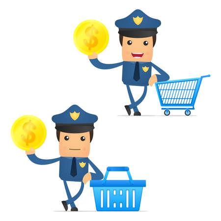 wage: set of funny cartoon policeman