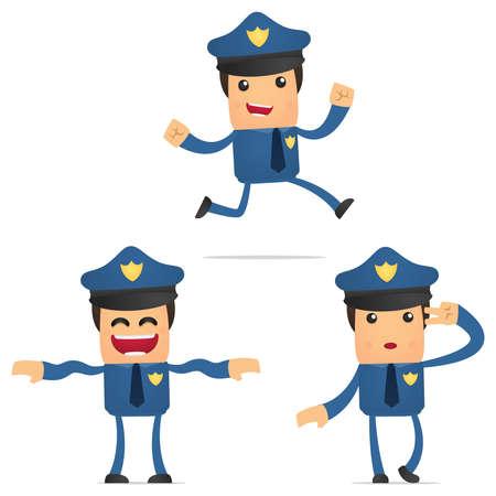 baile caricatura: conjunto de policía divertidos dibujos animados
