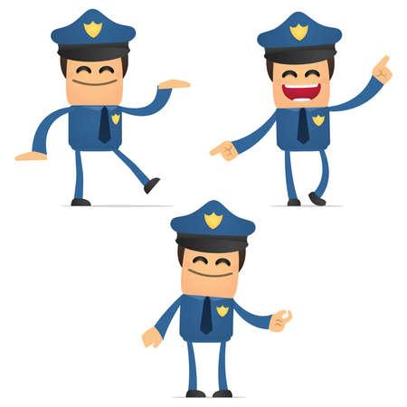 policia caricatura: conjunto de policía divertidos dibujos animados