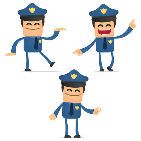set of funny cartoon policeman Stock Vector - 11864737