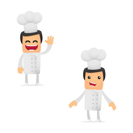 manga style: set of funny cartoon chef