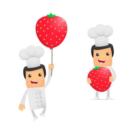 cartoon strawberry: set of funny cartoon chef