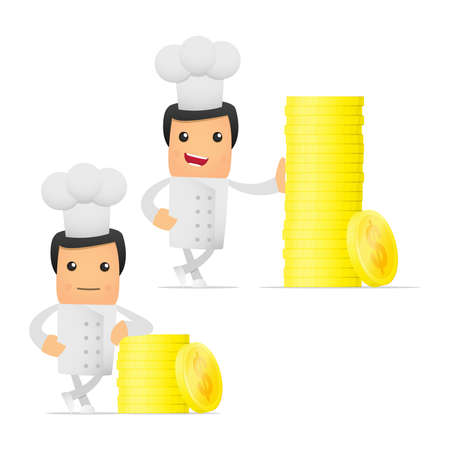 valuta: set of funny cartoon chef
