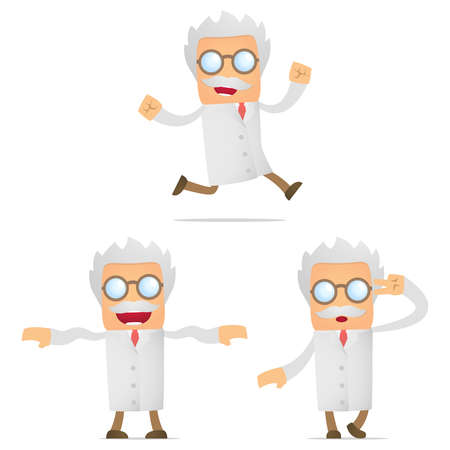 crazy hair: set of funny cartoon scientist