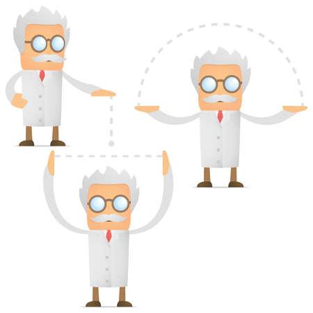 balanza de laboratorio: un conjunto de científicos divertidos dibujos animados