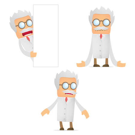 miserable: set of funny cartoon scientist