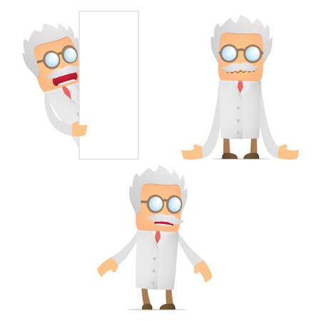 uninterested: set of funny cartoon scientist