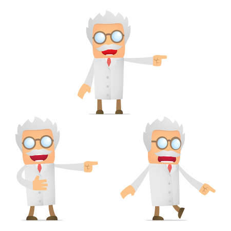 scared man: set of funny cartoon scientist