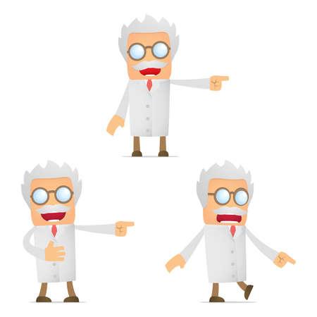 set of funny cartoon scientist Stock Vector - 11864740