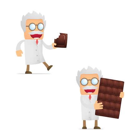 lab coat: set of funny cartoon scientist