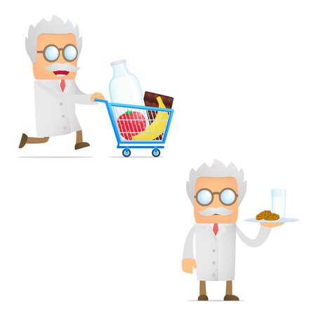 organic fluid: set of funny cartoon scientist