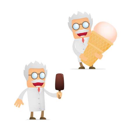 frozen drink: set of funny cartoon scientist