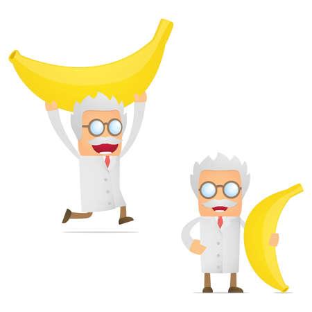 set of funny cartoon scientist Vector