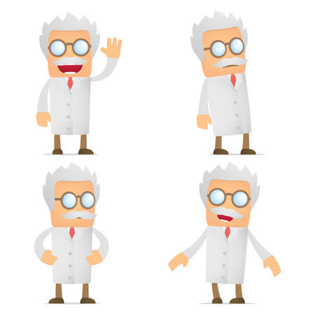 old man standing: set of funny cartoon scientist