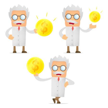wage: set of funny cartoon scientist