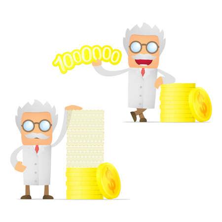 inventor: set of funny cartoon scientist