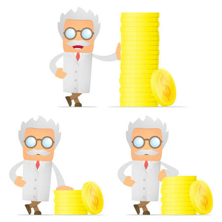 doctor with money: set of funny cartoon scientist