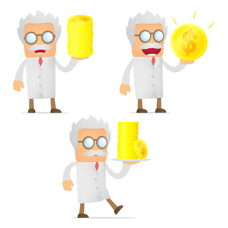 set of funny cartoon scientist Stock Vector - 11864830