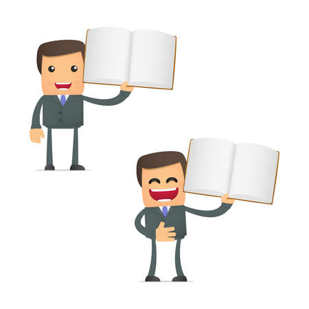 literary characters: set of funny cartoon businessman