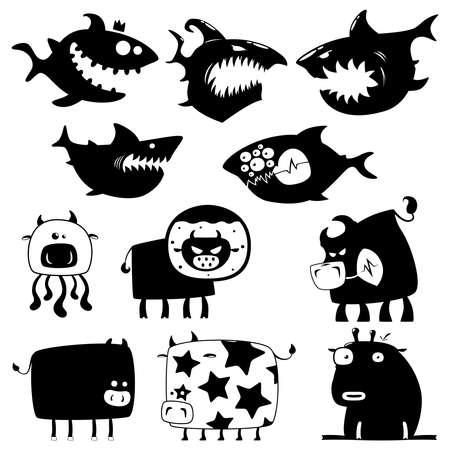 vaca caricatura: tiburones y vacas