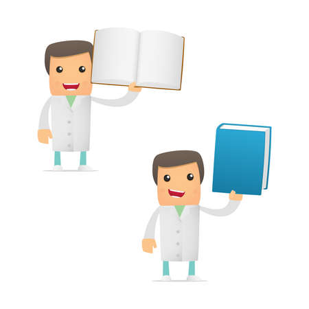 scientific literature: set of funny cartoon doctor