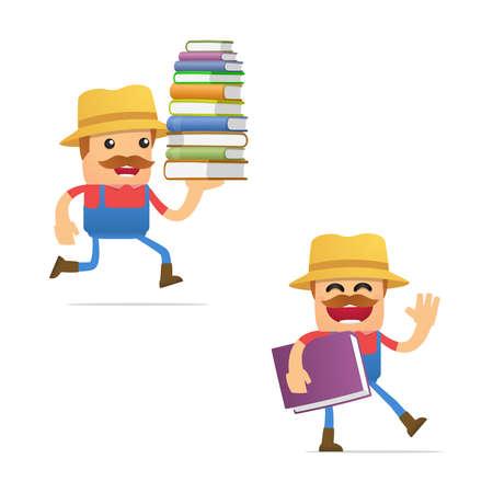 literary man: set of funny cartoon farmer