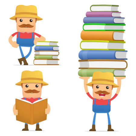 set of funny cartoon farmer Stock Vector - 12250084
