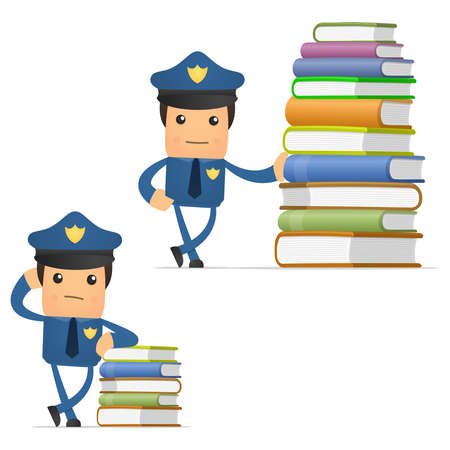 cartoon police officer: set of funny cartoon policeman