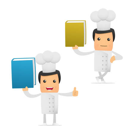 literary characters: set of funny cartoon chef