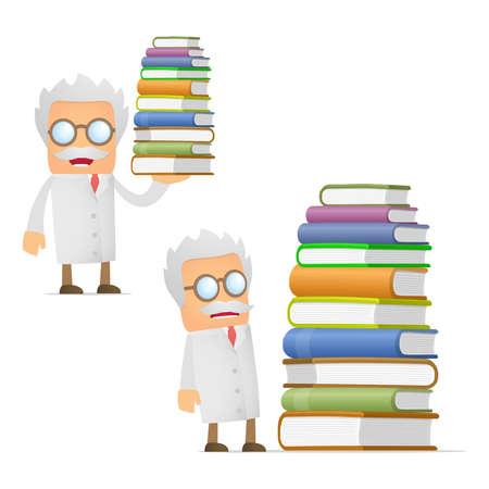 old diary: funny cartoon scientist giving presentation Illustration