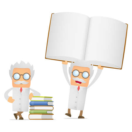 literary man: funny cartoon scientist giving presentation Illustration