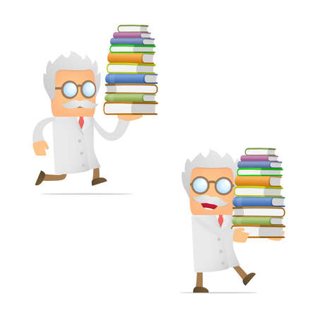 funny cartoon scientist giving presentation Stock Vector - 12250118