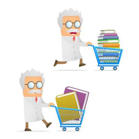 funny cartoon scientist giving presentation Vector