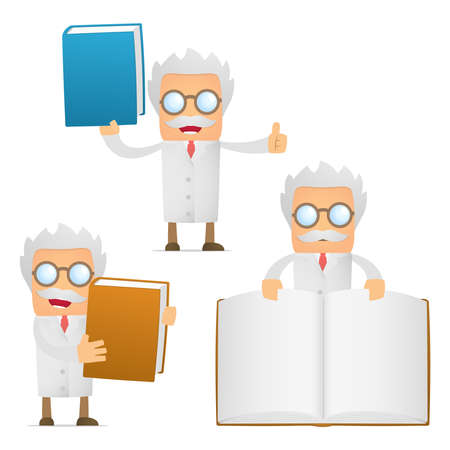 funny cartoon scientist giving presentation Stock Vector - 12250067