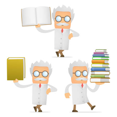 scientist man: funny cartoon scientist giving presentation Illustration