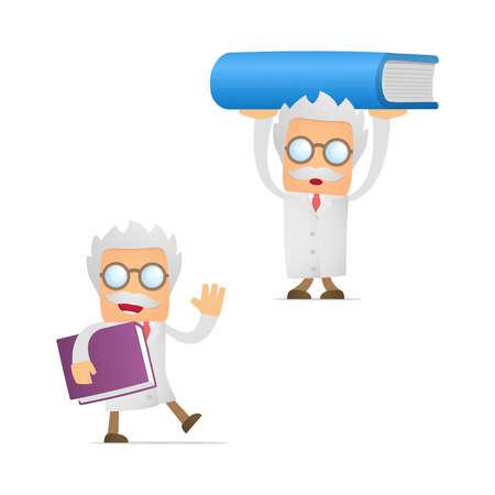 scientific literature: funny cartoon scientist giving presentation Illustration