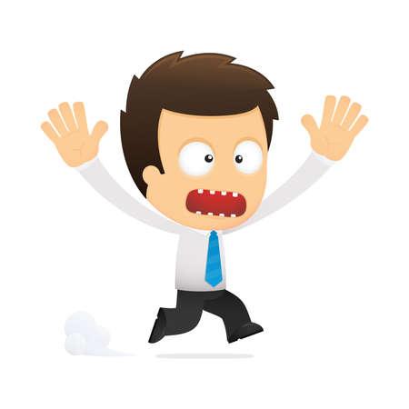 afraid man: funny cartoon office worker Illustration