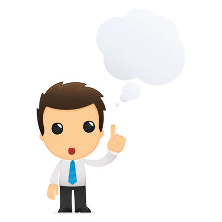 thinking icon: funny cartoon office worker Illustration