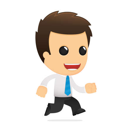 running businessman: funny cartoon office worker Illustration