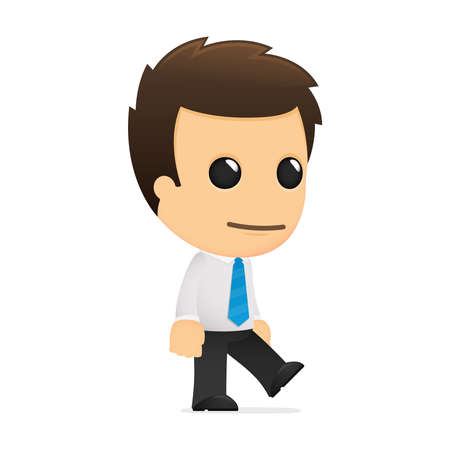 professional occupation: funny cartoon office worker Illustration