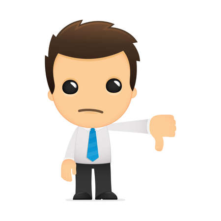 thumbs down: funny cartoon office worker Illustration